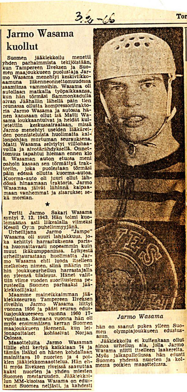 Jarmo Wasama kuoli traagisessa autokolarissa vain 22-vuotiaana.
