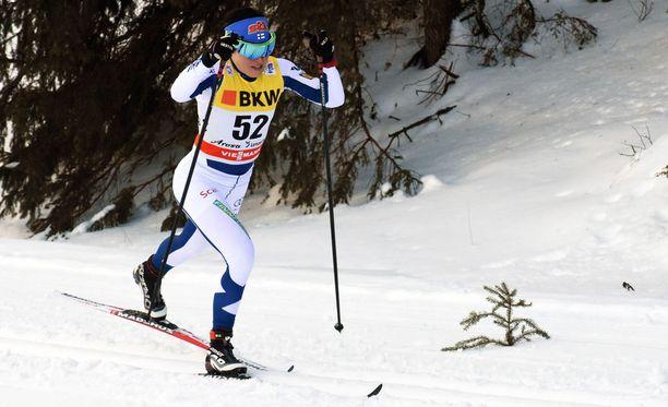 Krista Pärmäkoski menetti paljon aikaa sunnuntain kisassa kaatumisten vuoksi.