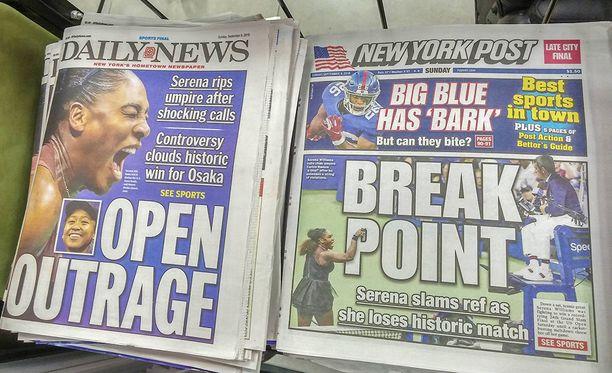 Serena Williamsin raivokohtaus nousi etusivun uutiseksi.
