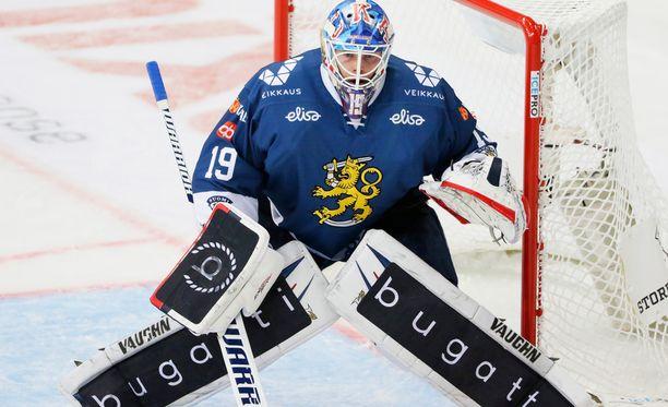 Kaksinkertainen KHL-mestari Mikko Koskinen lienee Leijonien ykkösvahti olympiajäällä.