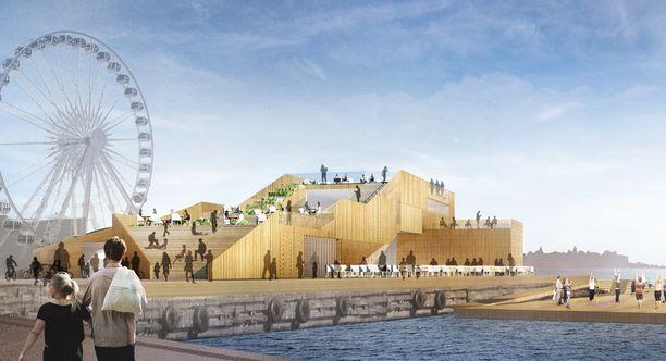 Havainnekuvassa on tuleva ravintolarakennus, joka valmistuu vuoden 2017 keväällä.