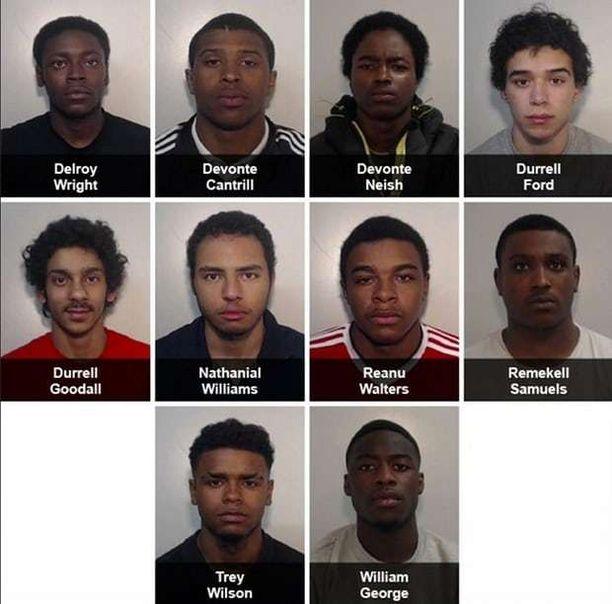 Kuvassa tuomion saaneet miehet. Neish, George, Samuels ja 14-vuotias poika saivat tuomion taposta, loput miehet murhasta. 14-vuotiaan nimeä ja kuvaa ei ole julkaistu hänen ikänsä vuoksi.