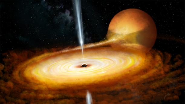 Taitelijan näkemys MAXI J1820+070-järjestelmästä. Mustan aukon keskeltä lähtevän säteilyn on arvioitu olevan tuhat kertaa voimakkaampaa kuin Auringon säteily.