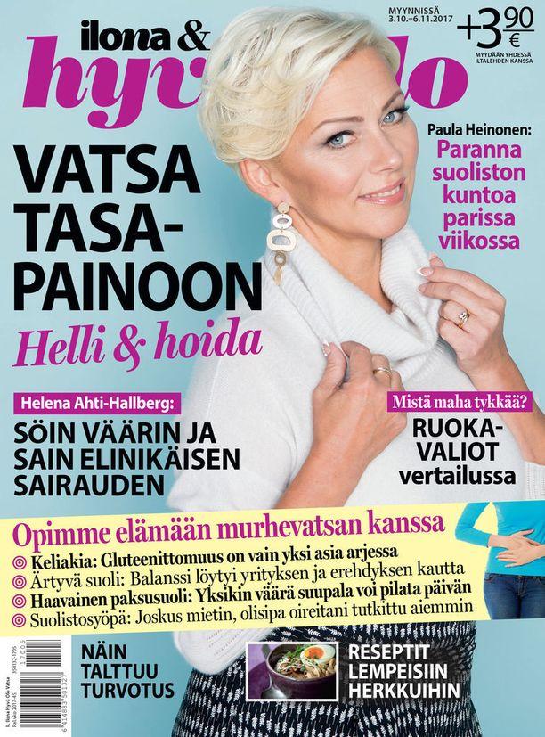 Helena Ahti-Hallberg halusi kertoa Ilona & hyvä olo -lehdessä tarinansa varoittavana esimerkkinä siitä, mitä kuituköyhä ruokavalio voi tehdä terveydelle.