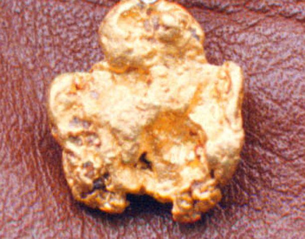 Lemmenjoelta löydetty kultahippu on huomattavasti tätä koruksi ripustettua suurempi.