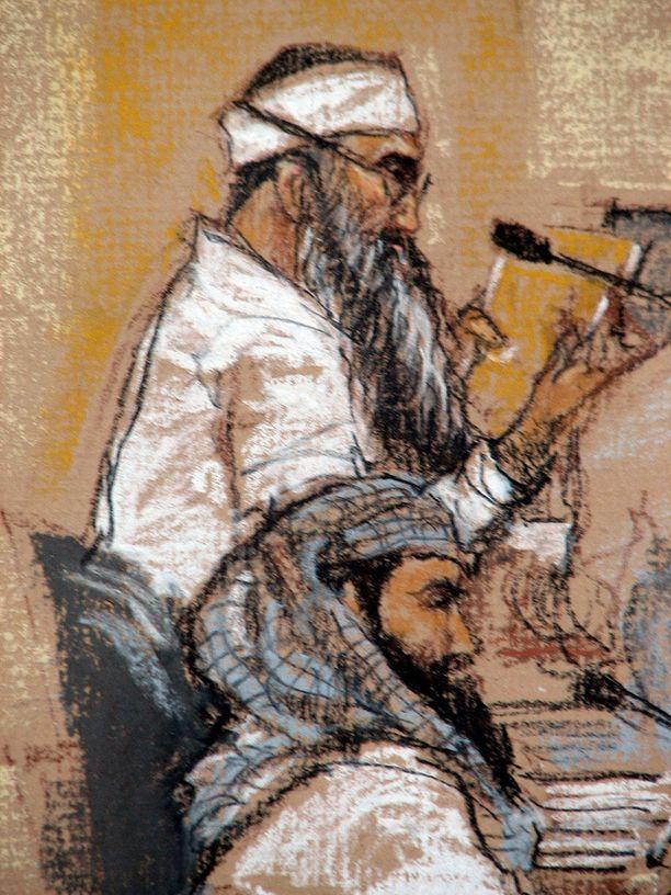 Taiteilijan näkemys oikeudessa vuonna 2009 näyttäytyneestä Mohammedista.