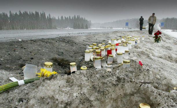 Konginkankaan kolaripaikalle tuotiin valtavasti kukkia ja kynttilöitä turman jälkeen vuonna 2004.