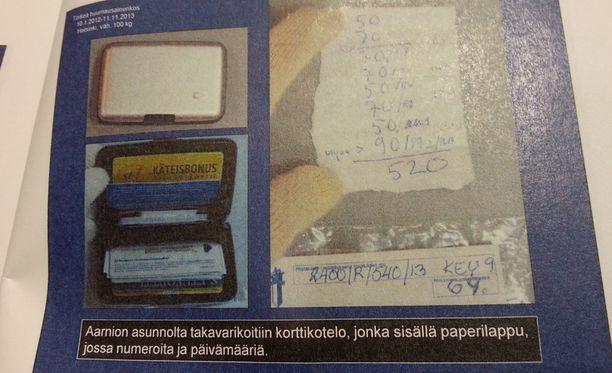 Aarnion työhuoneesta ja autotallista löytyi käsin kirjoitettuja paperilappuja, joihin oli kirjoitettu muun muassa sähköpostiosoite ja puhelinnumeroita Hollannin kontaktille.