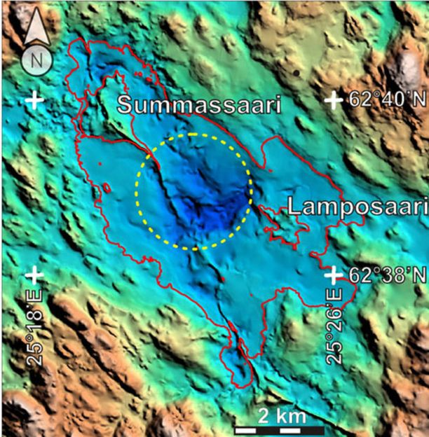 Kraatteria on tutkittu lentogeofysiikan avulla. Järvi on merkitty kuvaan punaisella viivalla ja kraatteri keltaisella katkoviivalla.