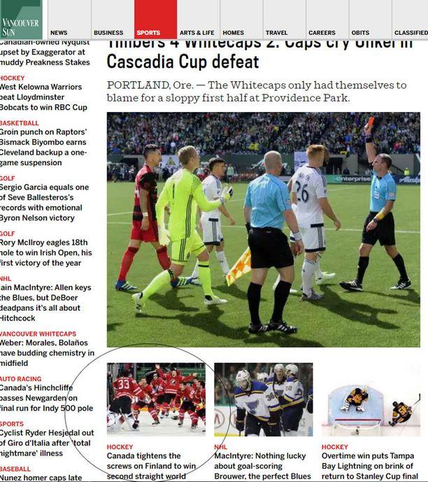 Vancouver Sunissa futiksen eurooppalaisversio ohitti kiekkokullan kiinnostavuudessa.