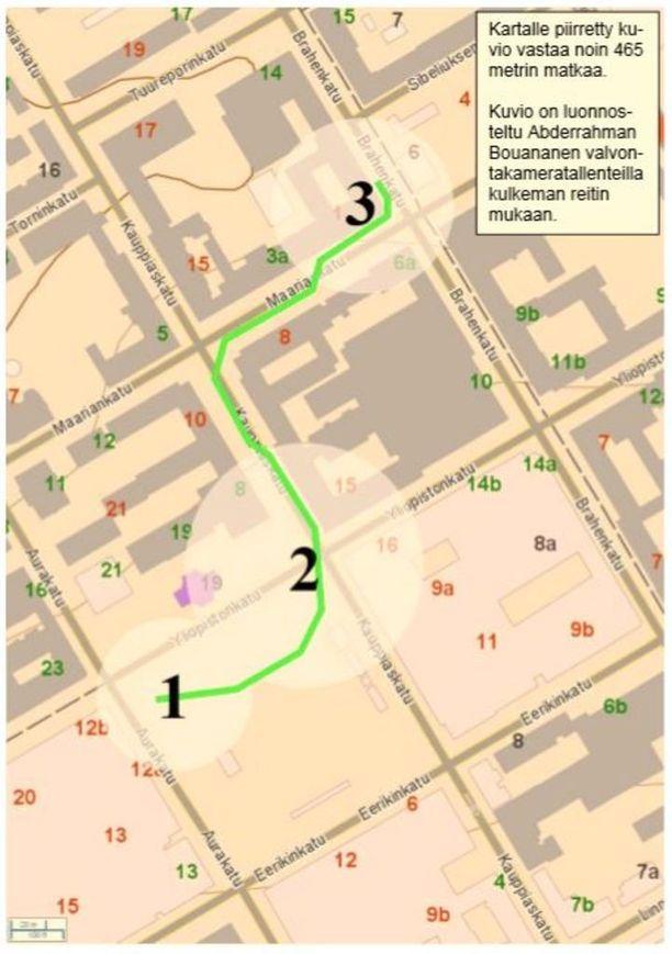 Kartalle on luonnosteltu Abderrahman Bouananen kulkemaa reittiä iskun aikana.
