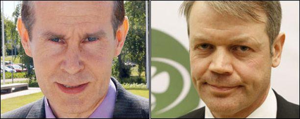 Sdp:n puoluevaltuuston puheenjohtaja Jouni Backman ja keskustan varapuheenjohtaja Timo Kaunisto.