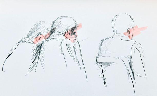 Taiteilijan näkemys uzbekistanilaisesta Akilovista vangitsemisoikeudessa.