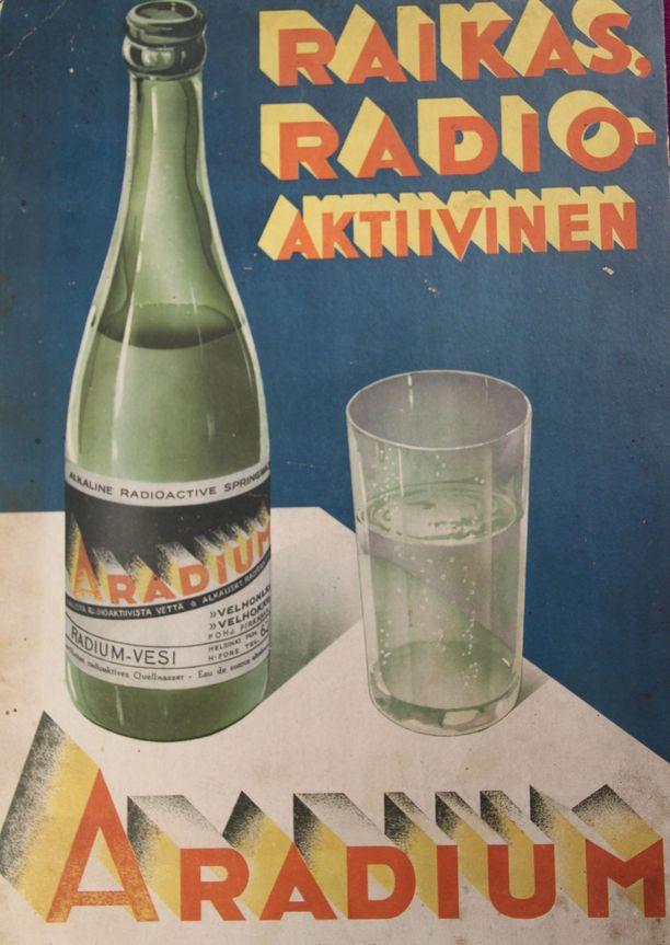 Radioaktiivista vettä myytiin Aradium-tuotemerkillä. Ilmoitus on vuodelta 1937.