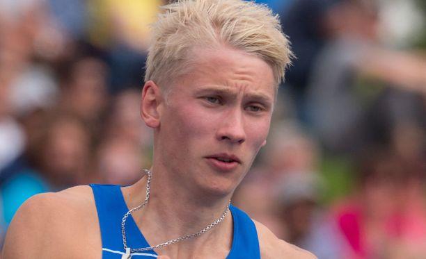 Samuel Purola oli lauantaina Suomen nopein mies 100 metrillä.