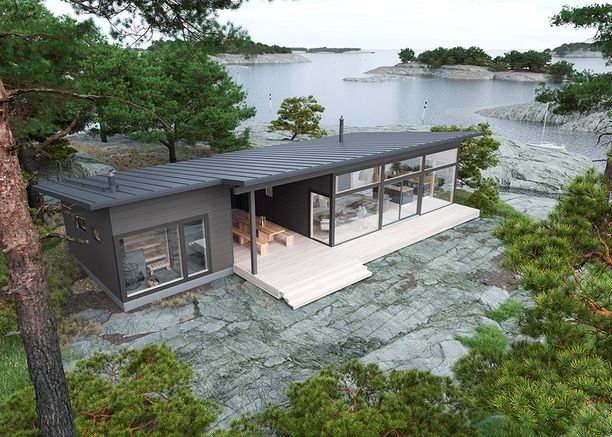 Yhden katon alle sijoittuvien sauna- ja asuintilojen väliin jää tilaa isollekin ruokapöydälle.
