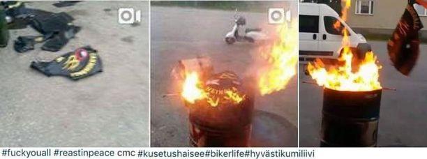 Somessa on levinnyt kuvia, joissa liivejä poltetaan.