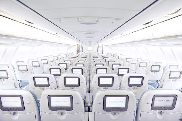 Tältä Airbus A330 -koneen matkustamossa tavallisesti näyttää.