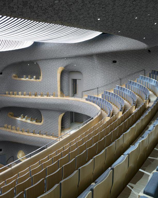 Fuzhoun 1700 hengen oopperasalin akustiseen keramiikkamosaiikkiin on yhdistetty bambua eri tavoin.