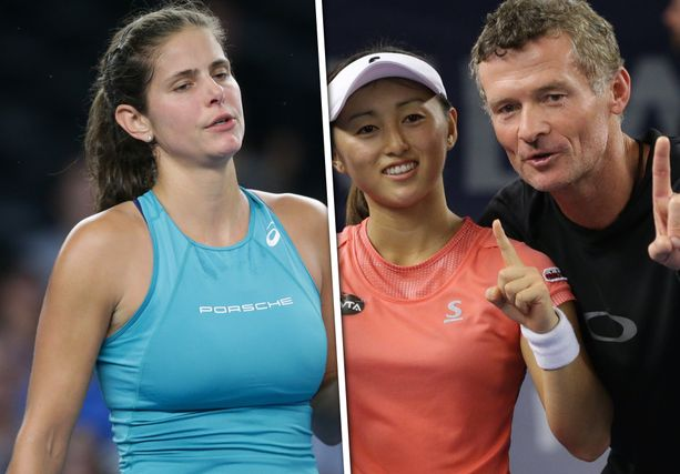 Julia Görges (vasemmalla) päihitti Misaki Doin (keskellä) Luxemburgissa. Valmentaja Christian Zahalkalta kuultiin kuitenkin outo kommentti.