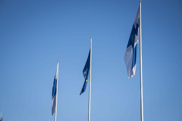 Lippuja Helsinki-Vantaan lentoaseman edustalla.