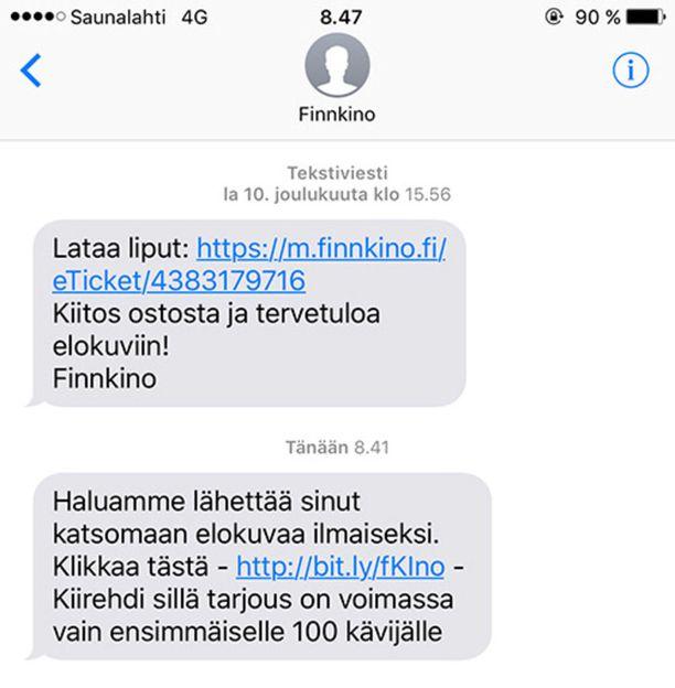 Huijausviestit saattavat tulla samaan viestiketjuun kuin Finnkinon viralliset mobiililiput ovat aiemmin tulleet.