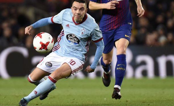 Iago Aspas iski Celta Vigon tasoihin kädellään FC Barcelonaa vastaan.