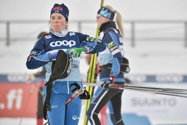 Krista Pärmäkoski valmistautui perjantaina Lahden maailmancupiin.