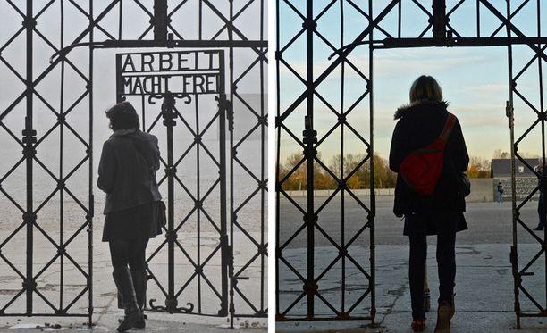 Vasemmassa kuvassa näkyvä ikoninen kyltti on vohkittiin Dachaun keskitysleirin portilta.