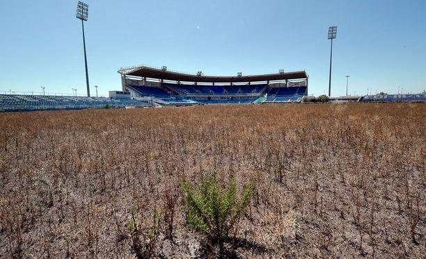 Baseball-stadion kasvaa vähitellen umpeen.