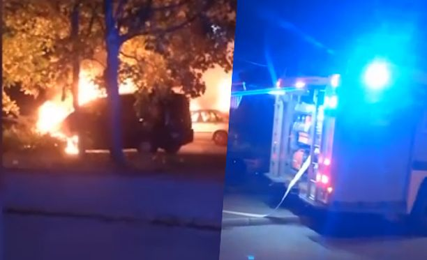 Poliisin mukaan autoja paloi kahdessa eri paikassa.