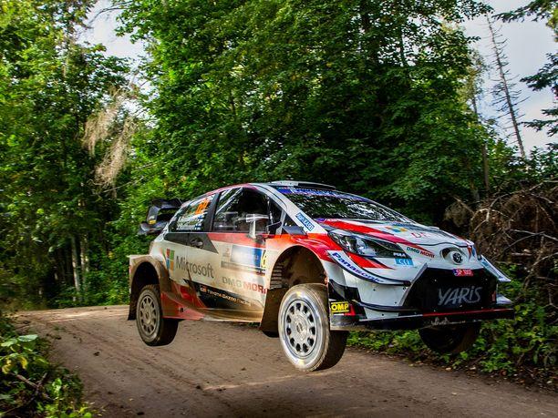 Kalle Rovanperä ajaa hyvin, vaikka rengasongelma vahingoittikin menestysaumoja. Kuva perjantailta.