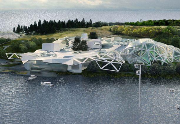 Ranskalaisessa suunnitelmassa eläintarhaa hallitsee moderni ja kookas sisäänkäyntirakennus.