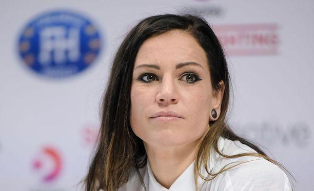 Eva Wahlström ottelee toukokuussa Turussa.