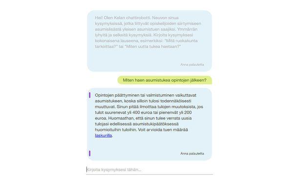 Näin Kelan chattirobotti vastasi Iltalehden toimittajan helppoon kysymykseen. Chattirobottia voi testata osoitteessa http://chattirobotti.kela.fi/