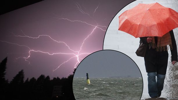 Sunnuntaina luvassa on ukkosta, sadetta ja korkeita aaltoja. Kuvituskuva.
