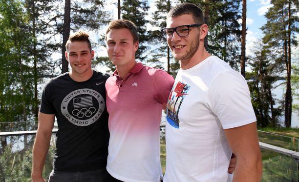 Johannes Vetter (vas.), Thomas Röhler ja Andreas Hofmann kilpailevat lauantaina Kuortaneen eliittikisoissa.