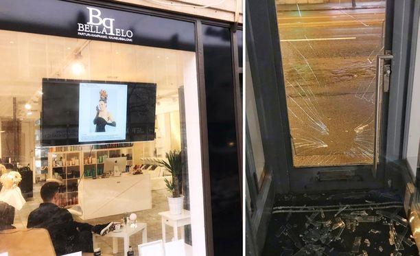 Liikkeeseen murtauduttiin rikkomalla lasioven ikkuna.