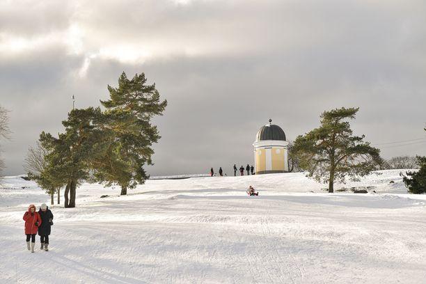 Helsingin Kaivopuistossa oli tänä vuonna laskiaistiistaille sopiva keli.