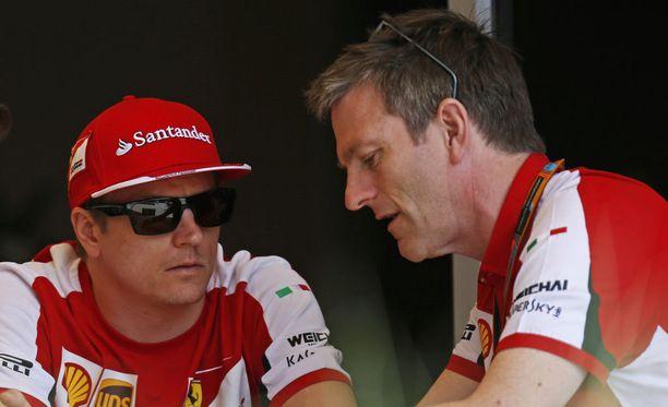 Kimi Räikkönen ja James Allison ovat läheisiä työtovereita. Tunnelmat Ferrarilla ovat nyt apeat.