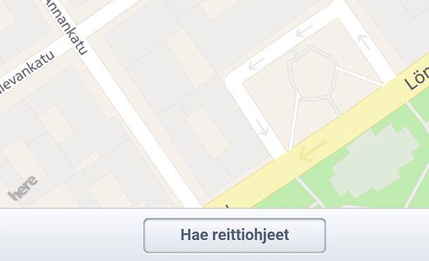 Nokian omistaman HERE-karttapalvelun logo näkyy Facebookissa avautuvan kartan vasemmassa alalaidassa.