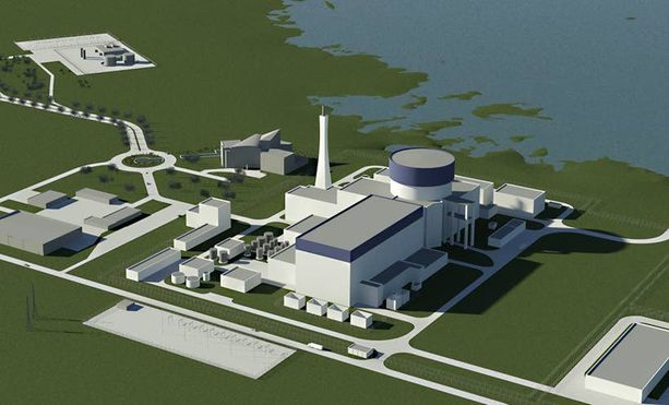 Näin venäläinen ydinvoimala asettuu Pyhäjoelle havainnekuvassa.
