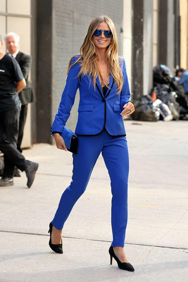 Heidi Klum pukeutuu tietysti oman Lidl-mallistonsa housupukuun.