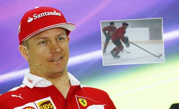 Innokas jääkiekkomies Kimi Räikkönen pelaa kiekkoa myös Ferrarin mainosvideolla.