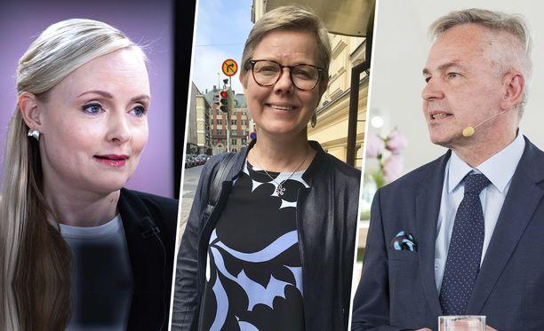 Suomen vihreät ministerit Maria Ohisalo, Krista Mikkonen ja Pekka Haavisto ajavat vielä bensakäyttöisillä virka-autoilla.