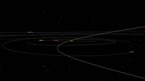 Asteroidi ohittaa maan lähimmillään kymmenkertaisella etäisyydellä kuuhun verrattuna.
