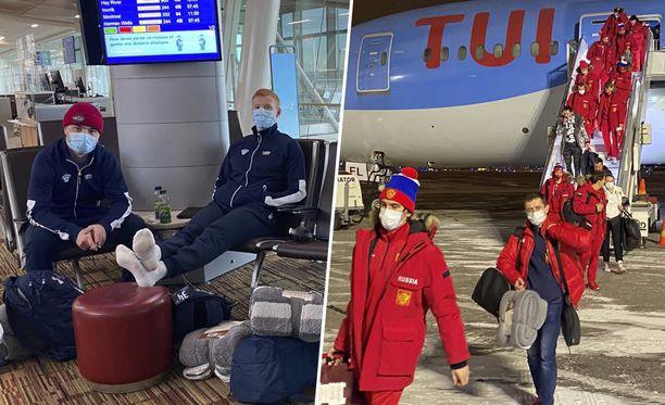 Ruben Rafkin ja Aku Räty odottelivat rennosti Edmontonin kentällä. Venäjän joukkue ohjattiin Helsinki-Vantaalla omaan bussiin ja Moskovan lennolle.