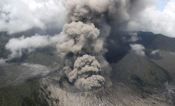 Bromo-tulivuoren tuhka estää lentoliikenteen. Arkistokuvaa marraskuulta.