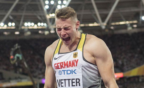 Johannes Vetter tuuletti viime lauantaina MM-kultaa.