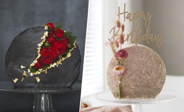 Anna Jaatinen yhdisti keksimänsä kukkageodin tämän hetken trendikkäimpään kakkutekniikkaan, käännettyyn kakkuun.